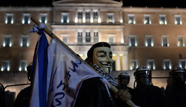 Proteste am Syntagmaplatz in Athen.