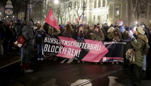 Demonstration gegen den Akademikerball in Wien