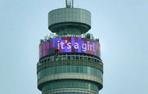 BT Tower in pink