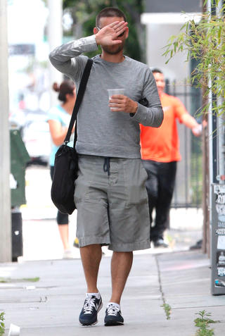 Tobey Maguire Sporting A Buzz Cut In West Hollywood